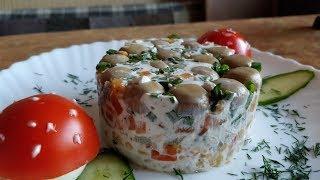 Вкусный рецепт салата / Торт салат с грибами и курицей / Грибная полянка
