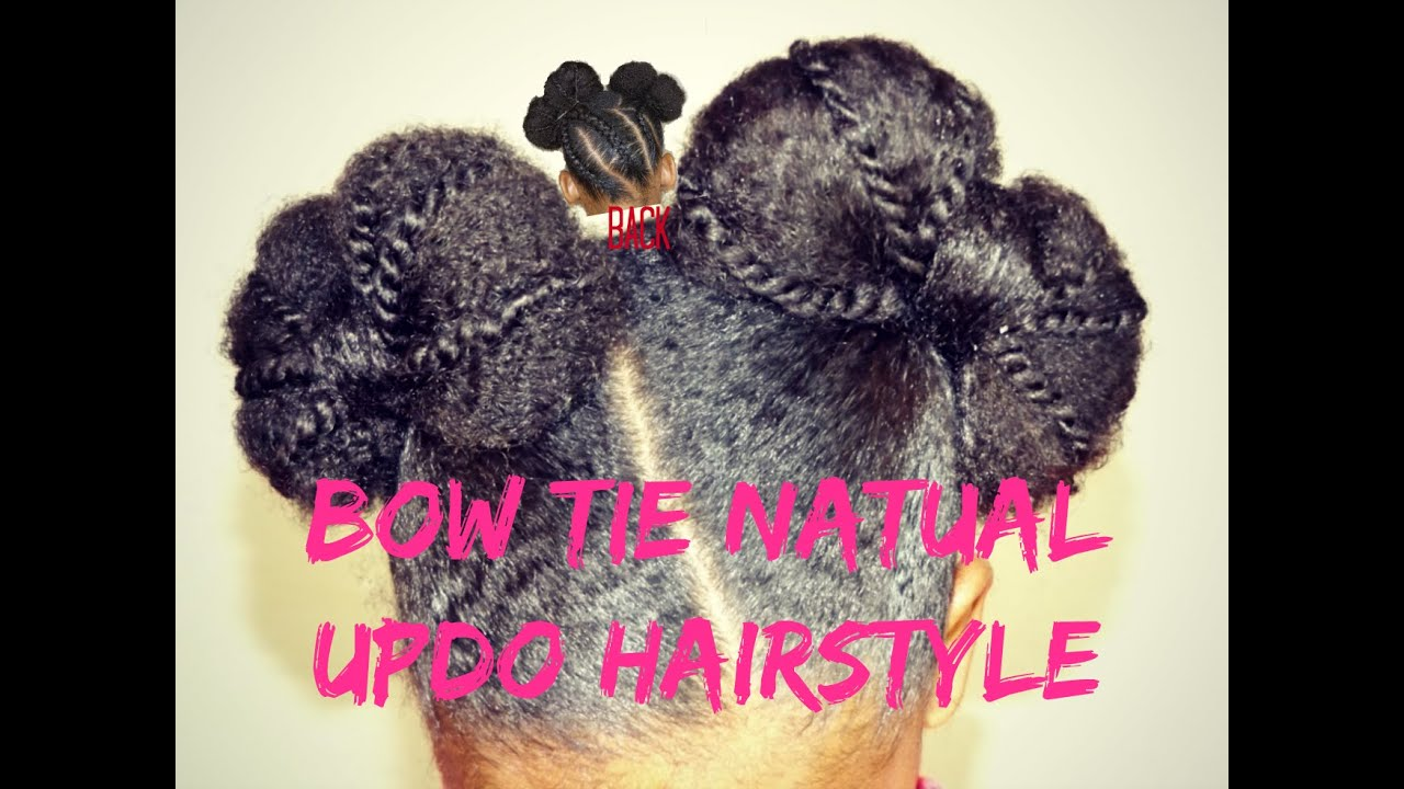 Natural Hairstyles Bow Tie Updo on Natural Hair || Vicariously Me - YouTube