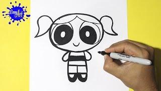 Como dibujar a Burbuja| las chicas super poderosas|how to draw burbuja| The Powerpuff Girls
