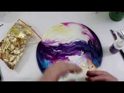 (212) Acrylic Pour with Gold Leaf Embellishments, Finished with Resin