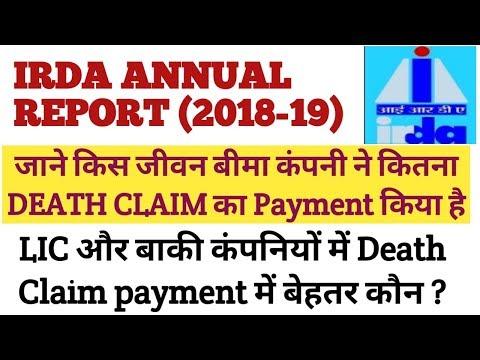 IRDAI ANNUAL REPORT (2018-19) : Death Claim Ratio Of All Life  Insurance Companies