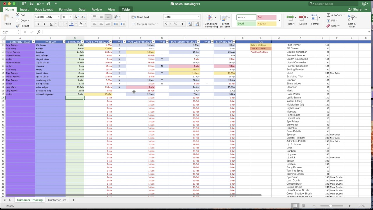 tracking spreadsheet