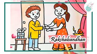 How to draw Indian Festival Rakshabandhan drawing for kids