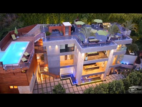 $20,000,000 CELEBRITY MEGAMANSION   BEVERLY HILLS    ULTRA MODERN MEGA MANSION