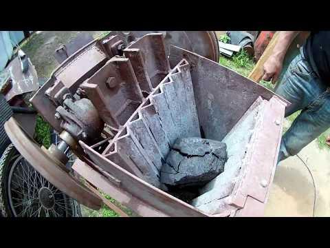 Дробилка щековая самодельная (ч. 3). Пробуем дробить уголь.