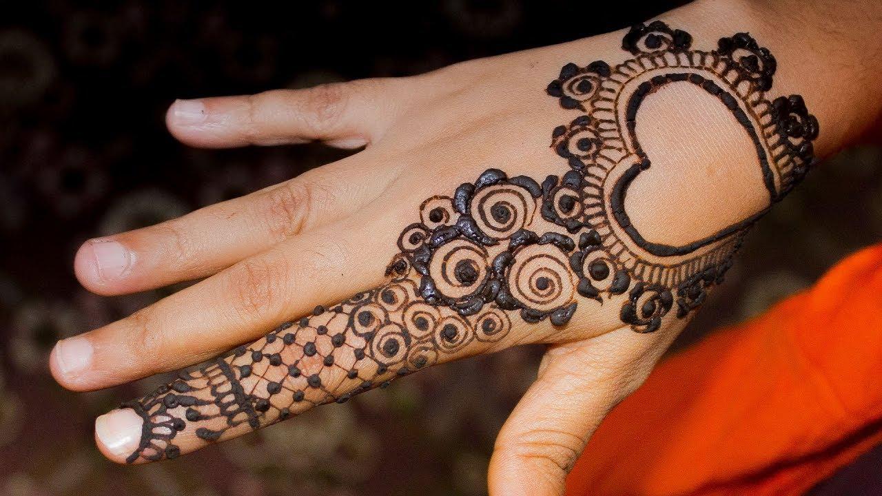 Mehndi Fingers Rating : Lovely heart mehndi design one finger valentines day