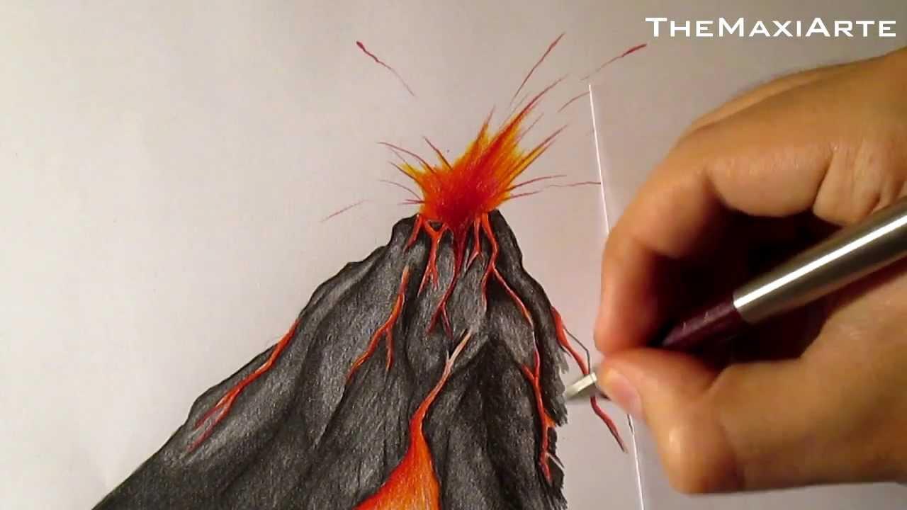 Cómo Dibujar Un Volcán En Erupción A Lápiz Paso A Paso Hd