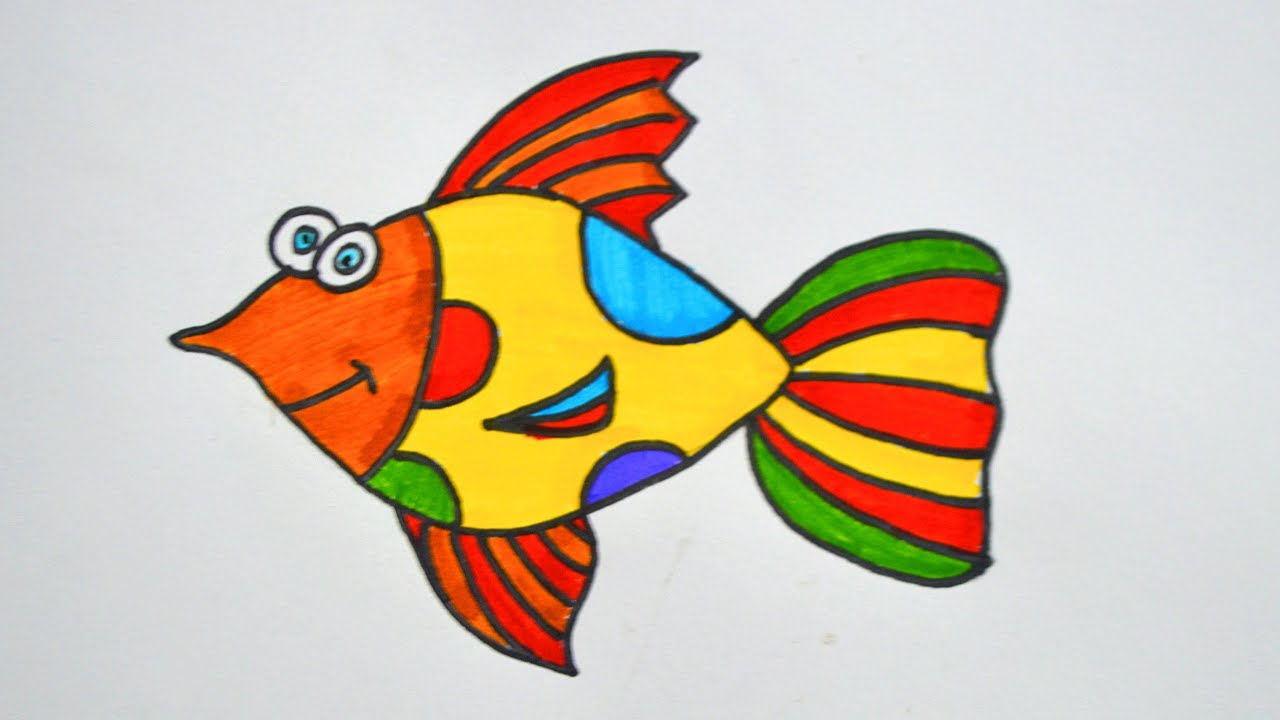 How To Draw A Fish Easy Fish Drawing Fish Drawing Color Drawing For Kids Youtube Drawing For Kids Easy Fish Drawing Fish Drawings