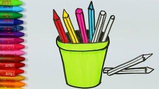 كيفية رسم قلم رصاص صفحات تلوين حالة قلم رصاص كتاب تلوين للطفل تعلم الألوان Youtube