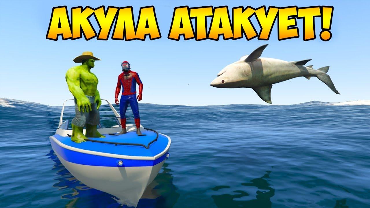 Халк и Человек паук против акулы. Учить животных 3Д ...