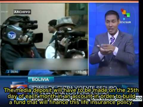 Bolivian gov't guarantees life insurance to media workers