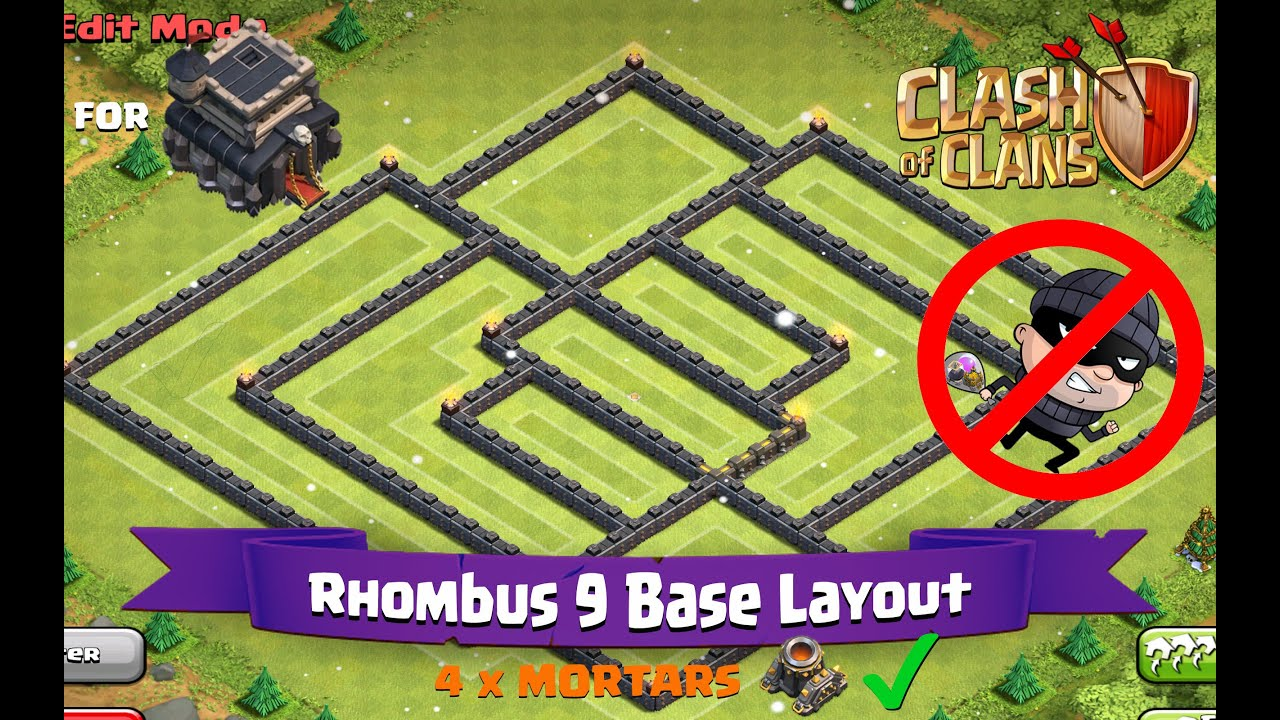 Clash Of Clans Th9 Best Farming Base Layout Rhombus 9 Youtube