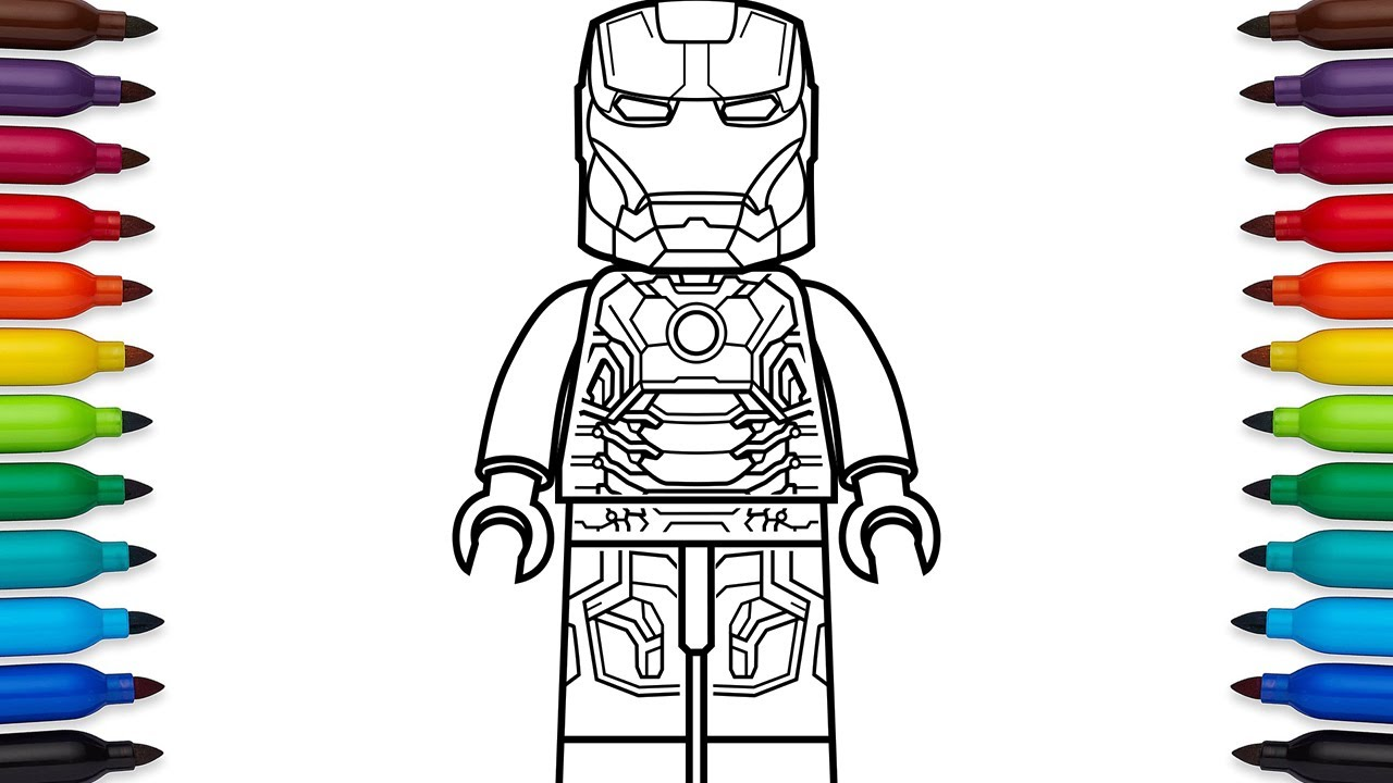 how to draw lego iron man mark 43 marvel superheroes coloring