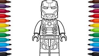 How to draw Lego Iron Man Mark 43 - Marvel Superheroes - coloring pages
