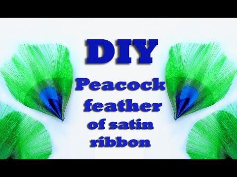 How To Make Peacock Feather Of Satin Ribbon / DIY Of Ribbon