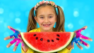 Sasha and Max have fun playing and eating watermelon and sing Wash your Hands song