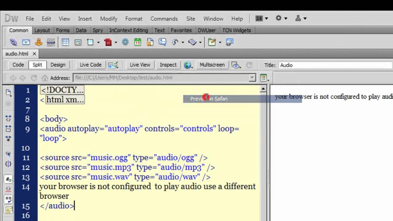 Dreamweaver cs5 tutorial: Playing audio with Dreamweaver