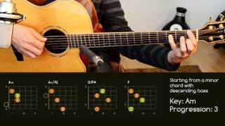 guitar chord progressions with slash chords - descending bass - a minor