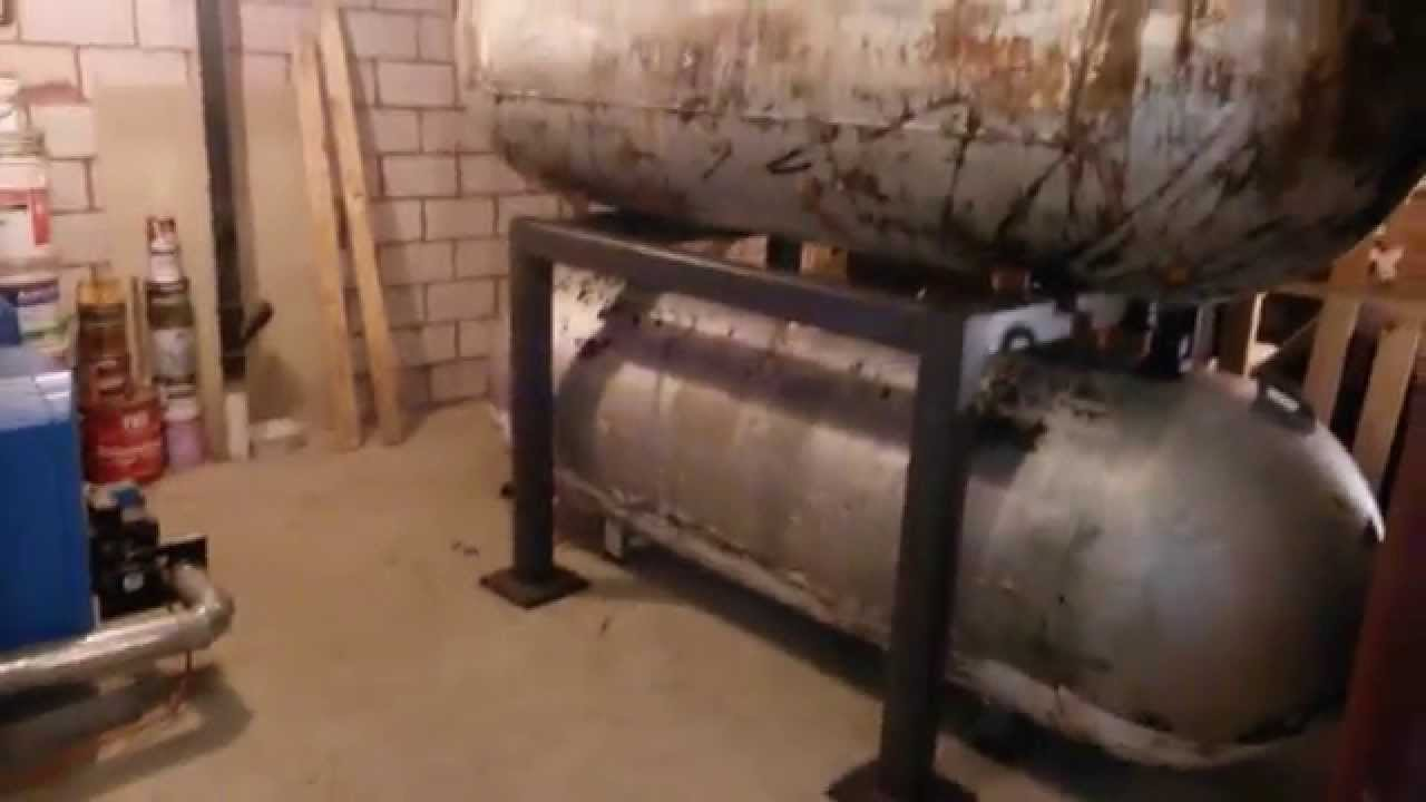Wood Gassification Boiler Install Part 6 - Both Tanks On Stand - YouTube & Wood Gassification Boiler Install: Part 6 - Both Tanks On Stand ...