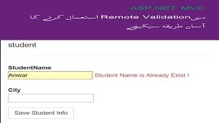 How to Create Remote Validation in ASP NET MVC