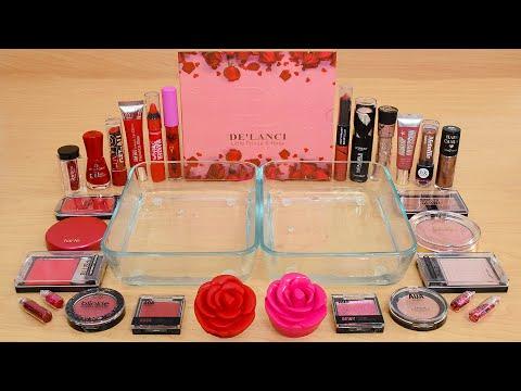 Red Vs Rose - Mixing Makeup Eyeshadow Into Slime ASMR 353 Satisfying Slime Video