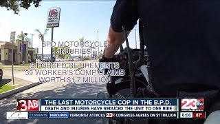 Only one motorcycle cop remains in the Bakersfield Police Department.