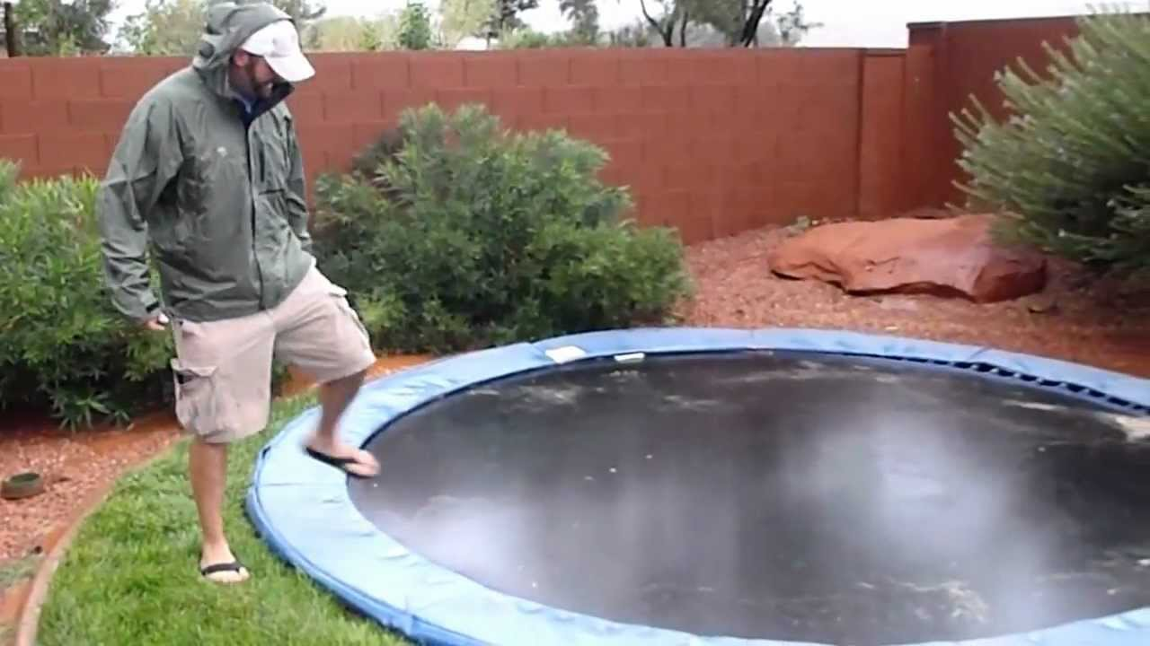 in ground trampoline during flash flood youtube. Black Bedroom Furniture Sets. Home Design Ideas