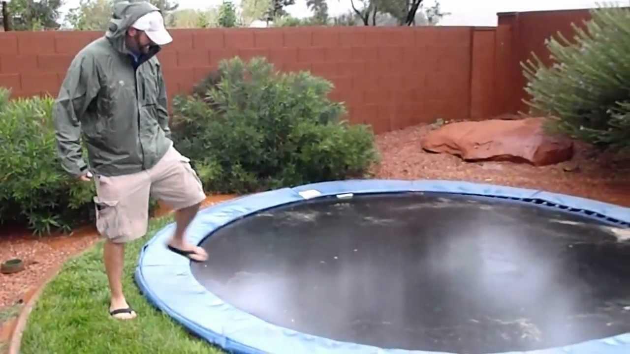 in ground trampoline during flash flood youtube