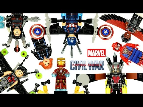 Captain America Civil War Minifigures LEGO KnockOff Vehicles & Jet Pack Gliders Iron Man Spider-Man