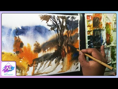 Abstract watercolor landscape painting demonstration by Art Explain