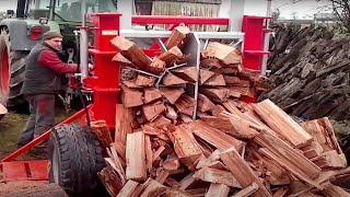 Extreme Fast Automatic Firewood Processing Machine, Amazing Modern Wood Cutting Chainsaw Machines