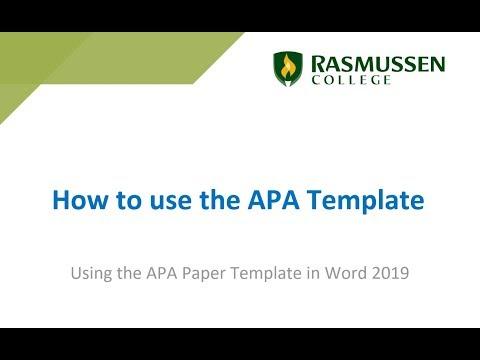 How do I use the APA template? - Answers