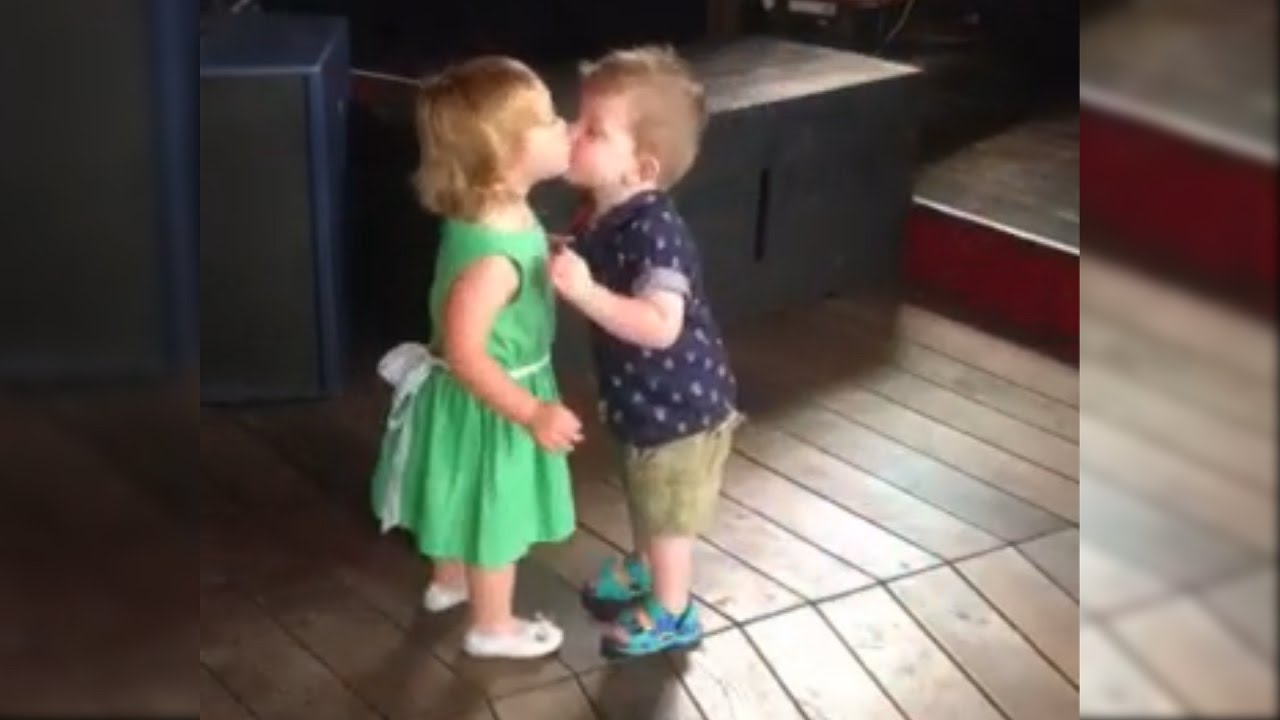 adorable first kiss between cute baby girl and baby boy - youtube