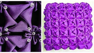 How to make beaded Smocking Cushion cover /rose / satin fabric flower /cojin / almofoda de capitone