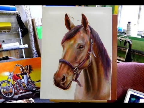 How I drew a Hyper-realistic horse ( Oil color ) Drawing horse.