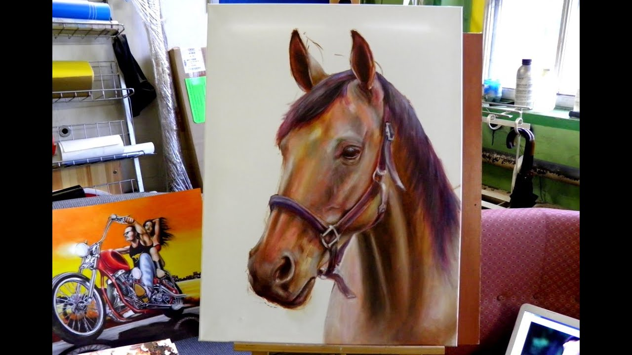How I Drew A Hyperrealistic Horse ( Oil Color ) Drawing Horse