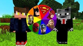 ROLETA DE HERÓIS VINGADORES E DC NO MINECRAFT !! ( MARVEL E DC HERO Roulette )