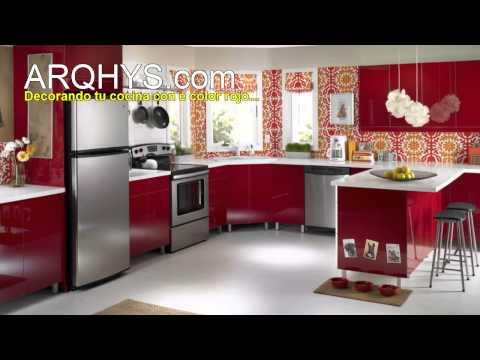 Cocinas de color rojo for Colores para cocina 2016