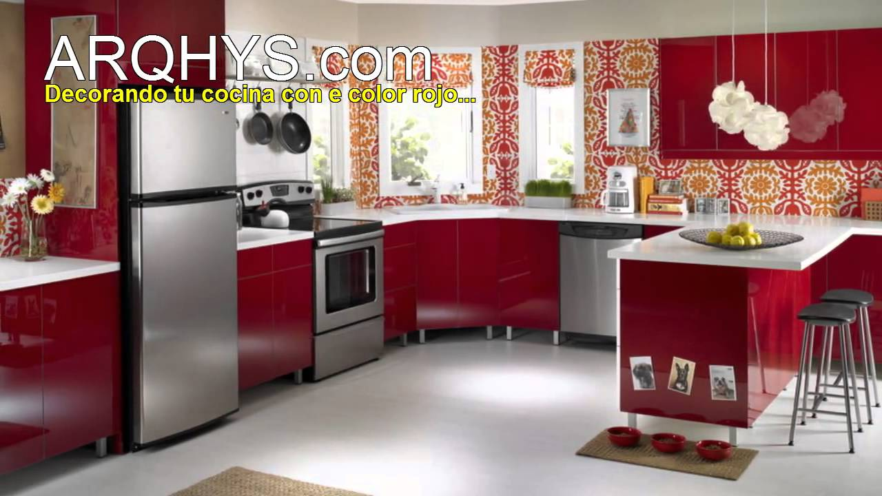 Cocinas de color rojo - YouTube