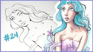 Lilac Princess (Watercolor timelapse) - A DRAWING A DAY #24