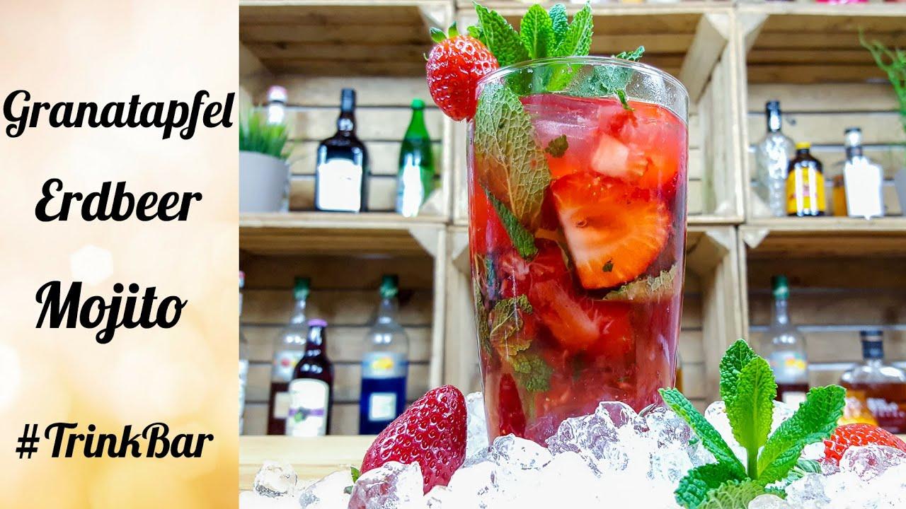 granatapfel erdbeer mojito cocktail rezept trinkbar youtube. Black Bedroom Furniture Sets. Home Design Ideas