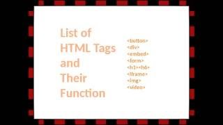 Learn HTML Tags and their Functions withinin 1 Minute