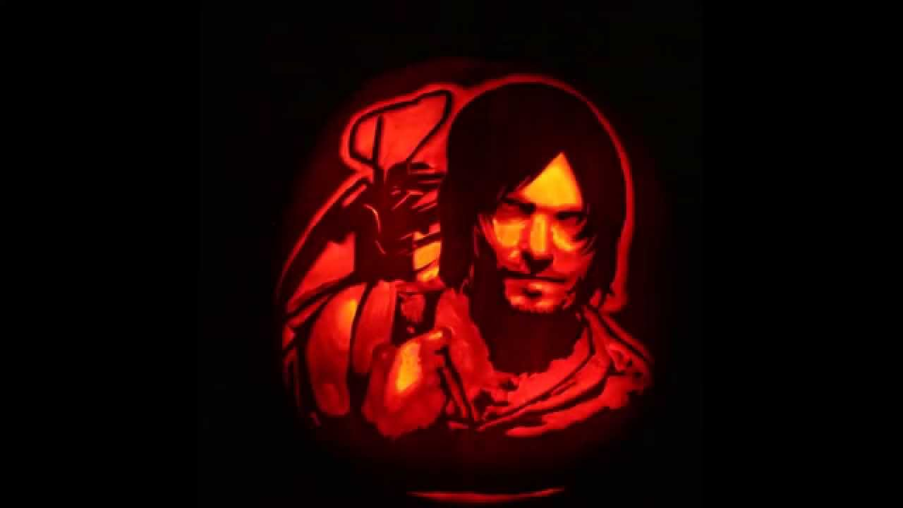 Daryl dixon walking dead jack o lantern pumpkin carving