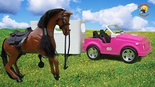 Машина с прицепом и лошадь для барби / vehicle with a trailer and a horse for Barbie
