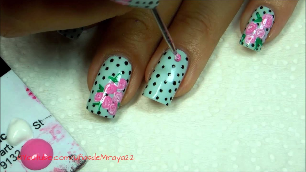 Facil Uñas con rosas y puntos (no estampado) - YouTube