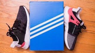 adidas equipment eqt support 93 17 black turbo review and on feet
