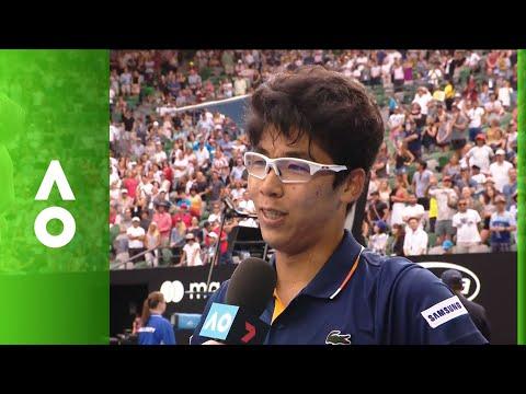 Hyeon Chung on court interview (3R) | Australian Open 2018