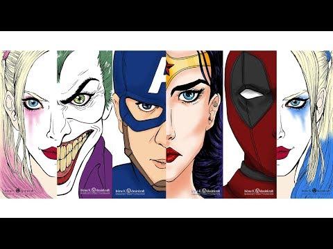 Coloring Bookmarks. American comics characters (Photoshop)