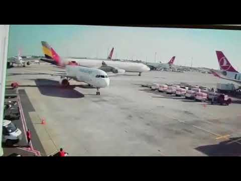 Asiana Airlines A330 Slices the Tail off of a Turkish Airlines A321