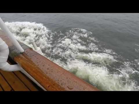 1 Hour of calm meditation rainy day on Steamship in Sweden - engine room and rain sounds